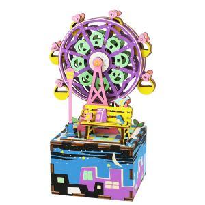 AM402 観覧車 Robotime 日本公式販売/日本語説明書付 3D ウッドパズル オルゴール tukurundesu