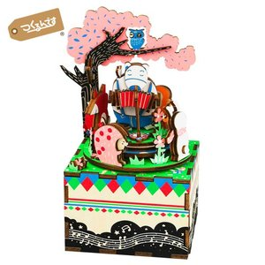 AM404 お花見 Robotime 日本公式販売/日本語説明書付 3D ウッドパズル オルゴール tukurundesu