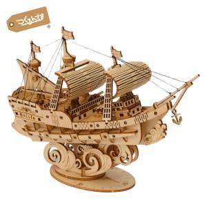 つくるんです TG305 帆船 Robotime 日本公式販売/日本語説明書付 3D ウッドパズル