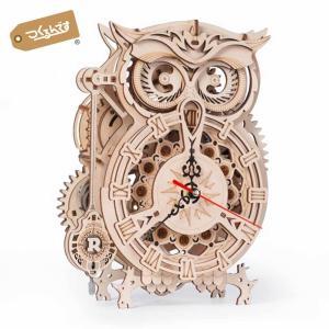 つくるんです LK503 フクロウ時計|ロボタイム 日本公式販売/日本語説明書付 3D ウッドパズル
