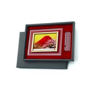 高級クリスタルシルク版画DX 赤富士桜・14968|turaronkon