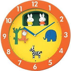 リズム時計 miffy ( ミッフィー ) からくり キャラクター 掛け時計 ミッフィーM748A 森の熊さん 他 12曲 メロディ オレン|turaronkon