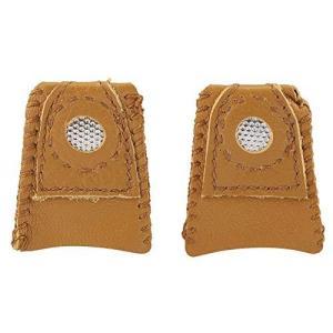 指ぬき 指保護 指プロテクター 縫製 裁縫用 DIYツール 2本 ソーイング用 レザー ゆびぬき 手芸用品|turaronkon
