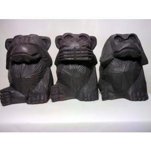 006見猿聞か猿言わ猿、三猿像の草木染め|turfan