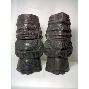 008アイヌの老夫婦の木彫りの草木染め|turfan