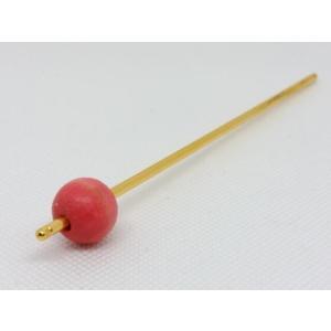 かんざし 065 草木染ウッドビーズ 桃色紅花 16mmx1 turfan