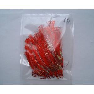 商品説明  毛鈎 赤ムツ16号 オーロラ皮 50本 です。  赤ムツ16号針に、オーロラ皮を使い、 ...