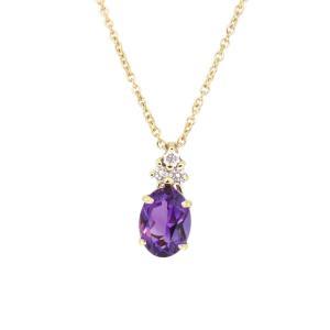 ティファニー アメシスト ダイヤモンド ネックレス ダイヤ 2月誕生石 クォーツ K18YG 【ジュエリー】|turuya783