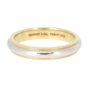 ティファニー ミルグレイン バンドリング コンビ ウェディングリング 結婚指輪 K18YG Pt950 【ジュエリー】|turuya783