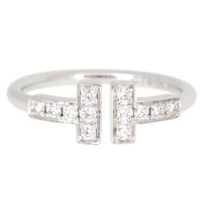ティファニー Tワイヤー リング ダイヤモンド ダイヤ Tコレクション K18WG 【ジュエリー】 turuya783