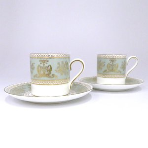 ウェッジウッド コロンビア セージ グリーン コーヒー カップ&ソーサー 2客セット ボンド