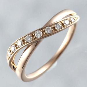 新品仕上げ ヨンドシー 4℃ K18PG ダイヤモンド リング クロスモチーフ 10号|turuya783