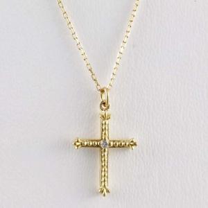 新品仕上げ AHKAH アーカー K18YG 1ポイント ダイヤモンド クレオ クロス ネックレス アーカーブラン クロスモチーフ 十字架 チェーン40cm 43cm (留め2つ)|turuya783