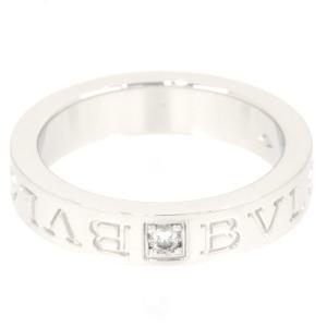 新品仕上げ BVLGARI ブルガリ K18WG 1ポイント ダイヤモンド ダブルロゴ リング ブルガリブルガリリング 10.5号|turuya783