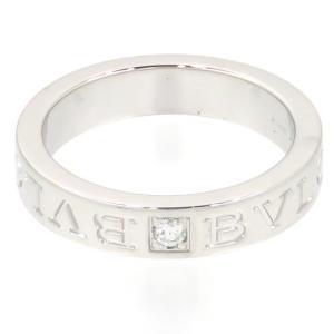 新品仕上げ BVLGARI ブルガリ K18WG 1ポイント ダイヤモンド ダブルロゴ リング ブルガリブルガリ #12 (12号) 幅4.0mm|turuya783