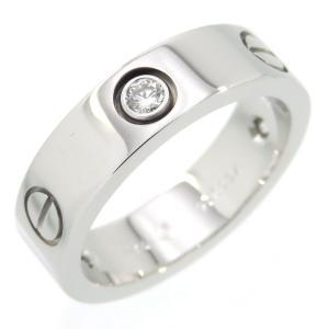 新品仕上げ Cartier カルティエ K18WG 3ポイント ダイヤモンド ラブ リング ハーフダイヤ #56 (16号) 幅5.5mm|turuya783