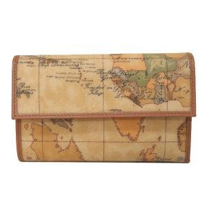 プリマクラッセ Prima Classe 折財布 3つ折り財布 地図柄 ベージュ  レディース W017 6000|tutto-brand
