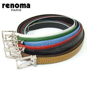 レノマ renoma RENOMA ベルト クロコ調型押しレザーメンズベルト 123|tutto-brand