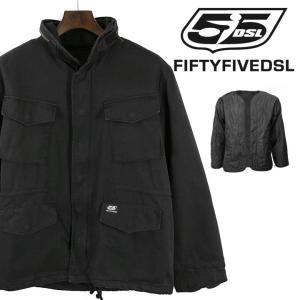 フィフティーファイブディーエスエル 55DSL ディーゼル ミリタリージャケット メンズ インナーダウン付き スタンドカラー フード M65 JACKET|tutto-tutto