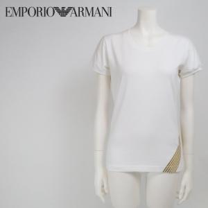 エンポリオアルマーニ EMPORIO ARMANI Tシャツ レディース クルーネック ゴールド箔プリント 半袖|tutto-tutto