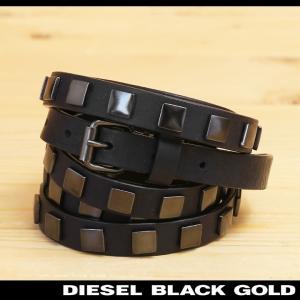 ディーゼルブラックゴールド DIESEL BLACK GOLD ナローベルト レディース 牛革 本革 スタッズ 二重巻き レザーベルト BALATOU|tutto-tutto