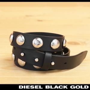 ディーゼルブラックゴールド DIESEL BLACK GOLD ナローベルト レディース 牛革 本革 スタッズ バックルレス レザーベルト BALCAR|tutto-tutto