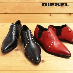 ディーゼル DIESEL ドレスシューズ 靴 レディース 本革 スタッズ ポインテッドトゥ サイドゴア レザーシューズ D-ANNISH|tutto-tutto