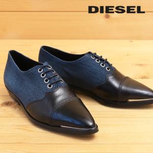 ディーゼル DIESEL ドレスシューズ 靴 レディース 本革×デニム生地 ポインテッドトゥ レースアップ オックスフォードシューズ D-REMMIES|tutto-tutto