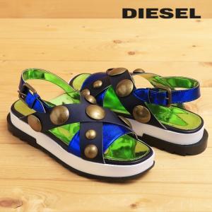 ディーゼル DIESEL レザーサンダル 靴 レディース 本革×エナメル メタルスタッズ バックストラップ D-ALLS LOW|tutto-tutto