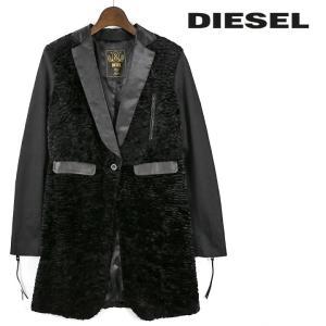 ディーゼル DIESEL ジャケット レディース 異素材切替 光沢襟 ジップドカフス チェスターコート G-ELVIA-B|tutto-tutto
