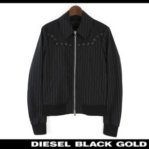 ディーゼルブラックゴールド DIESEL BLACK GOLD ブルゾンジャケット レディース ピンストライプ ステンカラー ストーン装飾 ウエスタンヨーク WINDHI|tutto-tutto
