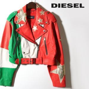 ディーゼル DIESEL レザージャケット レディース 羊革 本革 イタリアンカラー ライダースジャケット L-FLAG tutto-tutto