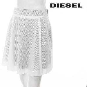 ディーゼル DIESEL ミニスカート レディース シースルー メッシュ素材 スポーツミックス 膝上丈 台形スカート O-DARK|tutto-tutto