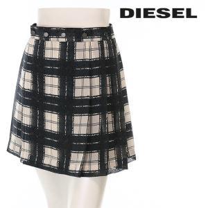 ディーゼル DIESEL ミニスカート レディース チェック柄 ワイドプリーツ ボタン装飾 ラップスカート O-NED|tutto-tutto