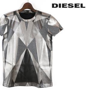 ディーゼルブラックゴールド DIESEL BLACK GOLD Tシャツ カットソー レディース ジオメトリック総柄 微光沢 ショルダージップ 半袖 CENSTER|tutto-tutto
