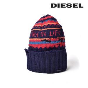 ディーゼル DIESEL ニット帽 帽子 メンズ レディース 男女兼用 ダメージ風アクセント ウール混 ニットキャップ K-SMILE|tutto-tutto