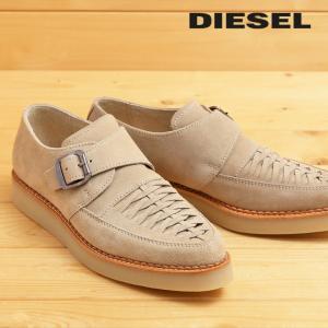 ディーゼル DIESEL モンクストラップシューズ 靴 メンズ 本革 スウェード 編み込み D-KHALLAT|tutto-tutto