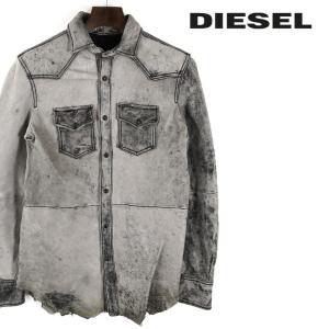 ディーゼル DIESEL シャツジャケット メンズ ヴィンテージ加工 ムラダメージ 裾切りっぱなし カットオフ 羊革 本革 ラムレザー L-SUL-ROW|tutto-tutto