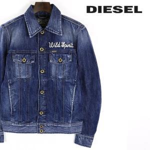 ディーゼル DIESEL デニムジャケット メンズ スカル パイソン 刺繍装飾 ヴィンテージダメージクラッシュ加工 Gジャン D-JIM-RE|tutto-tutto