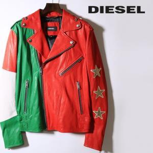 ディーゼル DIESEL ラムレザージャケット メンズ 羊革 本革 星スタッズ イタリアンカラー ライダースジャケット SOVIT-ED tutto-tutto