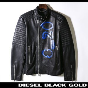 ディーゼルブラックゴールド DIESEL BLACK GOLD レザージャケット メンズ 牛革 本革 バックペイント バイカー ライダース LIME-PRINT tutto-tutto