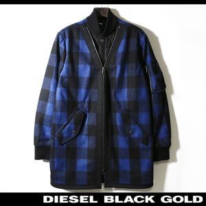 ディーゼルブラックゴールド DIESEL BLACK GOLD ブルゾンジャケット メンズ 重ね着風 チェック柄 中綿キルティング切替 JIPLAID tutto-tutto