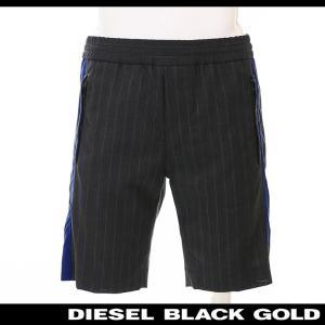 ディーゼルブラックゴールド DIESEL BLACK GOLD ハーフパンツ メンズ ストライプ柄 ウエストゴム ブルーライン PASHION|tutto-tutto