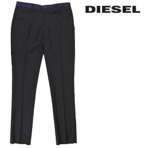 ディーゼル DIESEL スラックスパンツ メンズ 裾カットオフ センタープレス デニム生地切替 薄手 スリム P-LINYS|tutto-tutto