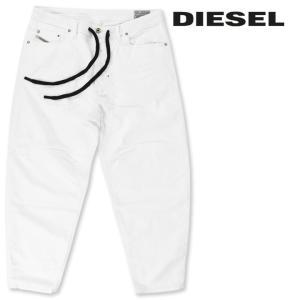 ディーゼル DIESEL ジーンズ デニム パンツ メンズ ウエスト紐ベルト ストレッチ コンフォートキャロット ホワイトデニム TRUCKTER|tutto-tutto