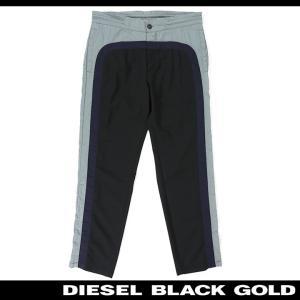 ディーゼルブラックゴールド DIESEL BLACK GOLD カジュアル パンツ メンズ 異素材切替 サイドライン 薄手 シャカシャカパンツ スポーツ PLITMAX|tutto-tutto