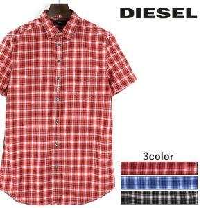 ディーゼル DIESEL コットンシャツ メンズ チェック柄 カジュアルシャツ 半袖 S-JUGO|tutto-tutto