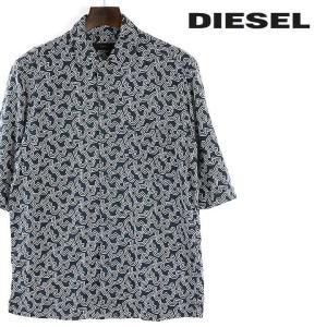 ディーゼル DIESEL カジュアルシャツ メンズ 胸ポケットワンポイントロゴ刺繍 総柄 五分袖 S-OBITO-I|tutto-tutto