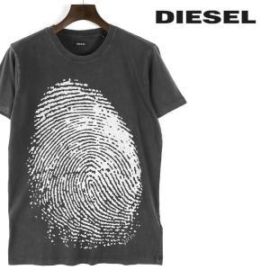 ディーゼル DIESEL Tシャツ カットソー メンズ ユーズド加工 指紋柄プリント コットン 半袖 T-ROUSEN|tutto-tutto