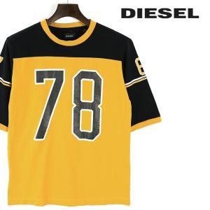 ディーゼル DIESEL コットンTシャツ メンズ ラウンドネック クルーネック クラックプリント ひび割れプリント 五分袖 半袖 T-PLUTON|tutto-tutto